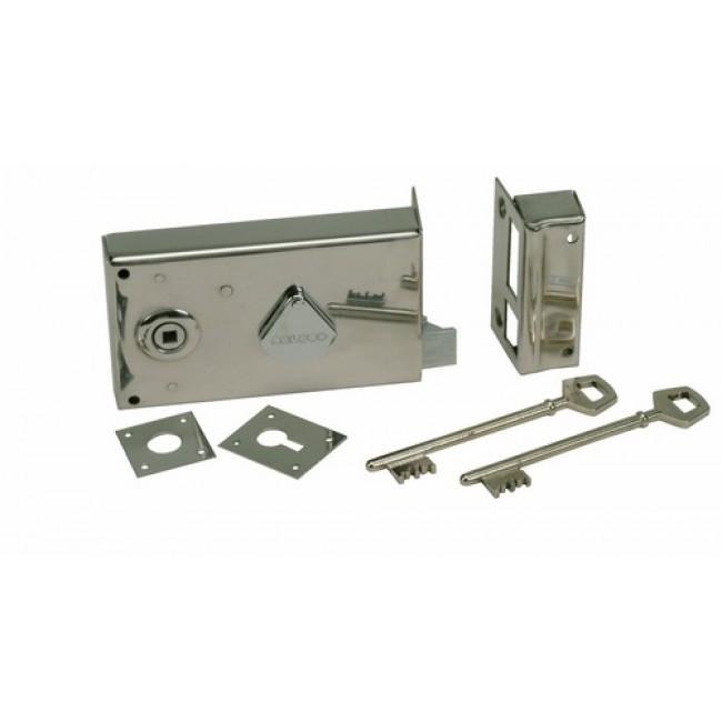 Serrure en acier inox, modèle 219, en applique horizontale, clefs à 4 gorges DEVISMES