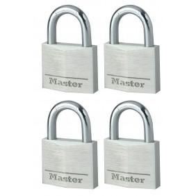 Lot de 4 cadenas à clé s'entrouvrants - 40mm de large - aluminium massif MASTER LOCK