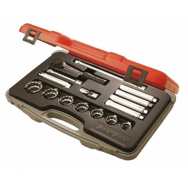 """Coffret douilles sanitaire 3/8"""", cliquet + accessoires : 16 outils SANISAM"""