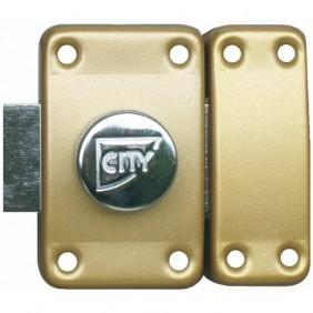 Verrou en applique à bouton et cylindre - varié - bronze - City25 ISEO