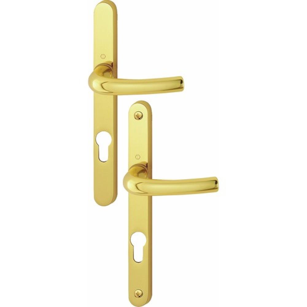 Poign es de porte sur plaques troites 24 mm laiton poli - Plaque poignee de porte ...