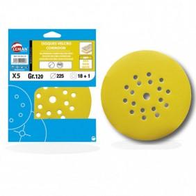Lot 5 disques velcro/papier pour ponceuse 225 mm-19 trous LEMAN
