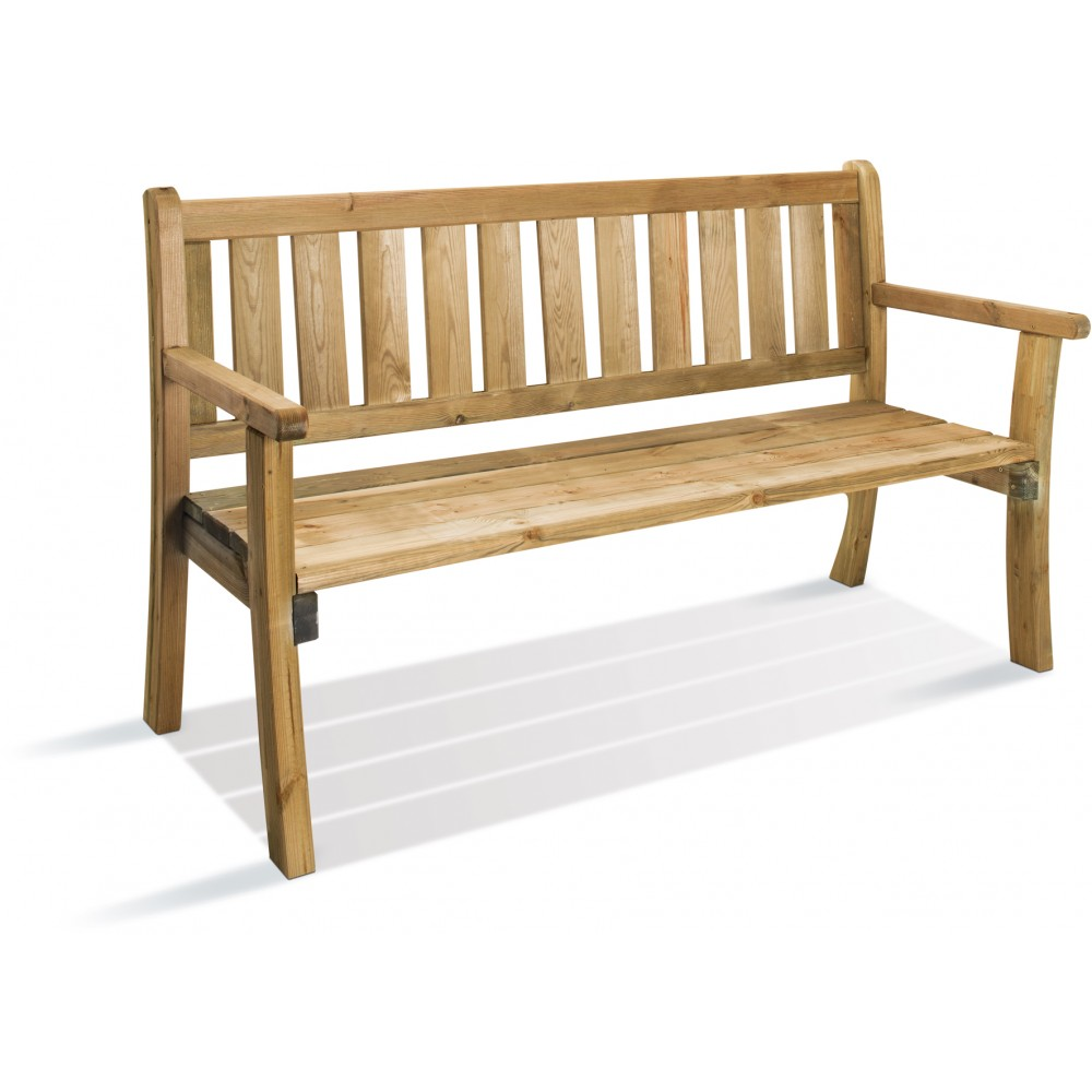 Banc de jardin en bois longueur 150 cm philadelphia jardipolys bricozor for Banc de jardin square