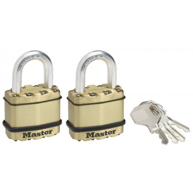 Lot de 2 cadenas s'entrouvrants - à clé - acier laminé - anse de 24 mm MASTER LOCK
