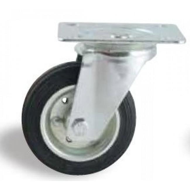 Roulette pivotante sur platine tole - bandage caoutchouc noir AVL