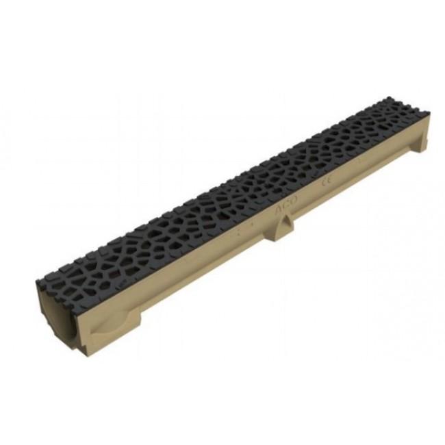 Caniveau Self 100 avec grilles Voronoï  noir standard fonte HT95mm ACO