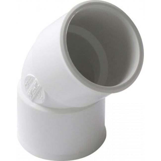 Coude PVC blanc 45° femelle / femelle NICOLL