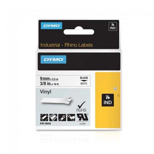 Ruban pour étiqueteuse Rhino 9 mm vinyle noir sur blanc Dymo
