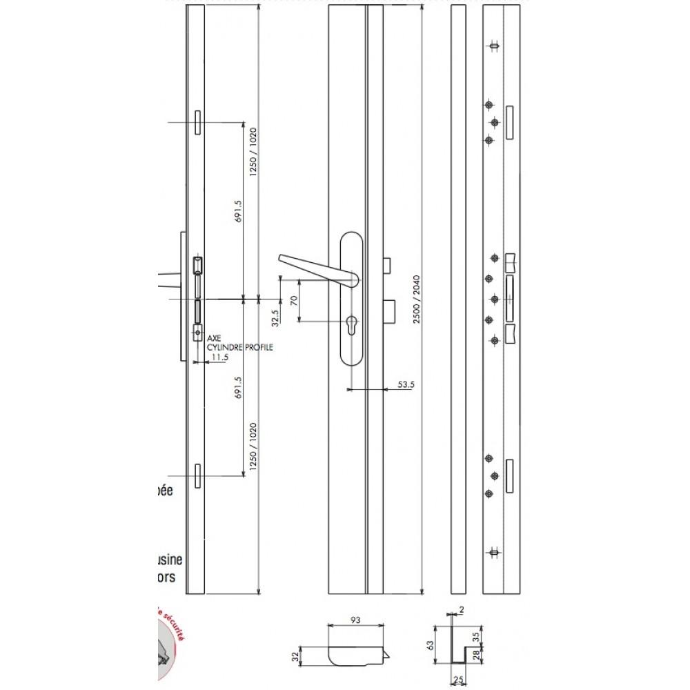 serrure en applique 3 points car n e haute s ret a2p. Black Bedroom Furniture Sets. Home Design Ideas