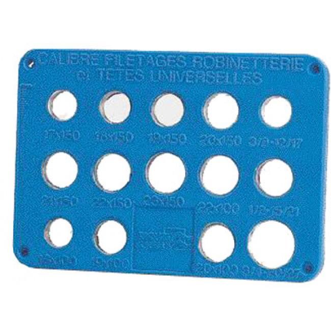 Plaque de calibrage pour filetages de becs et têtes BRICOZOR