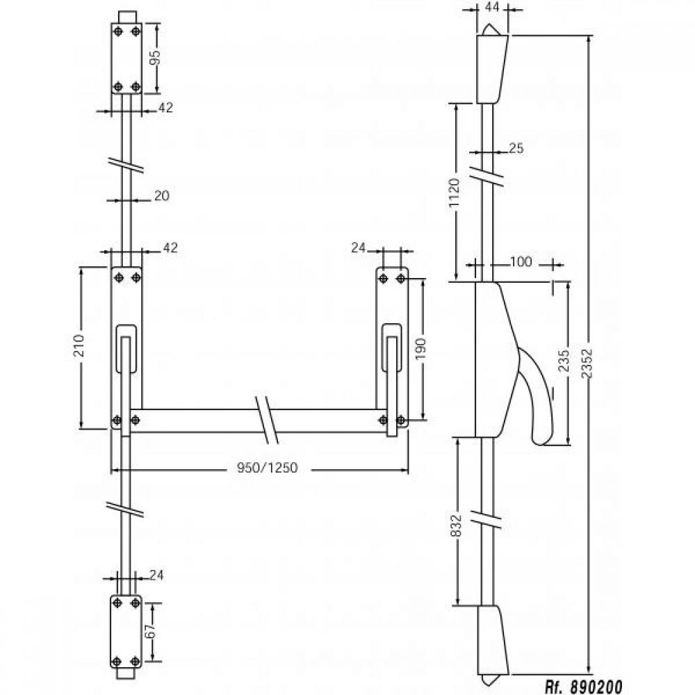 serrure antipanique 2 points haut et bas r versible crossbar 89 jpm bricozor. Black Bedroom Furniture Sets. Home Design Ideas