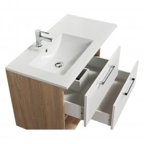 Meuble de salle de bains - et miroir 90 cm - Mino - chêne naturel BATHDESIGN