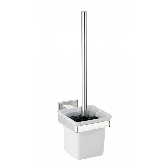 Brosse WC avec support mural carré - Acier/ABS - Fixation Express-Loc WENKO
