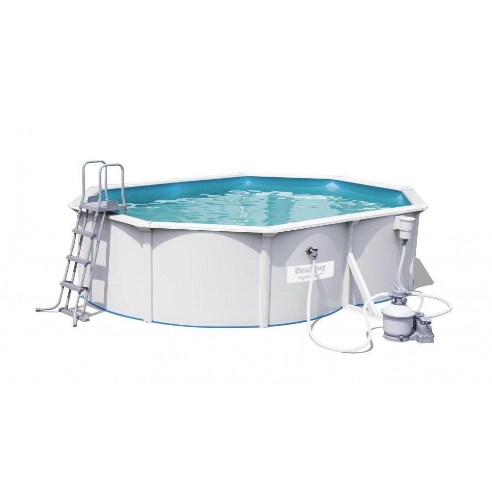 piscine tubulaire ovale en acier hydrium 500x360x120cm accessoires bestway bricozor. Black Bedroom Furniture Sets. Home Design Ideas