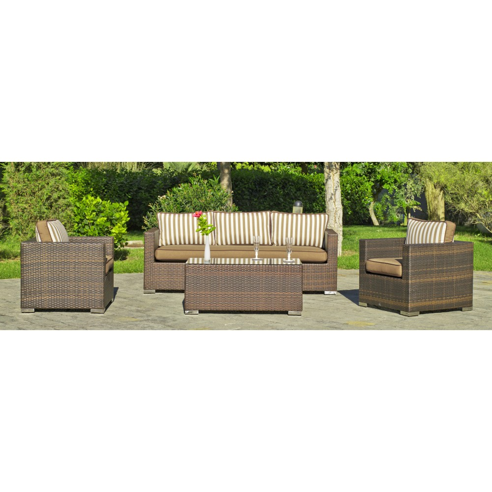 salon de jardin casanova 8 1 sofa 3 places 2 fauteuils 1 table basse avec coussins ray. Black Bedroom Furniture Sets. Home Design Ideas