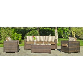 Salon de jardin Casanova 8 : 1 sofa 3 places, 2 fauteuils, 1 table basse, avec coussins rayé marron INDOOR OUTDOOR