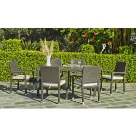 Table de jardin Salermo 160 cm et 6 fauteuils 70 avec coussins écru INDOOR OUTDOOR