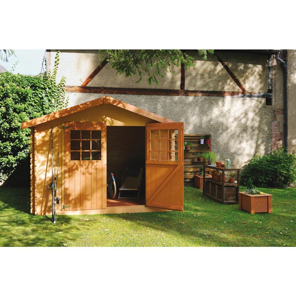 Abri de jardin en bois calgary 8 88 m bricozor for Abri de jardin 8 m2