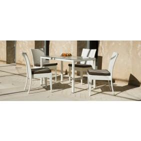 Table de jardin Villalba 120 : 1 table + 4 chaises et coussins INDOOR OUTDOOR