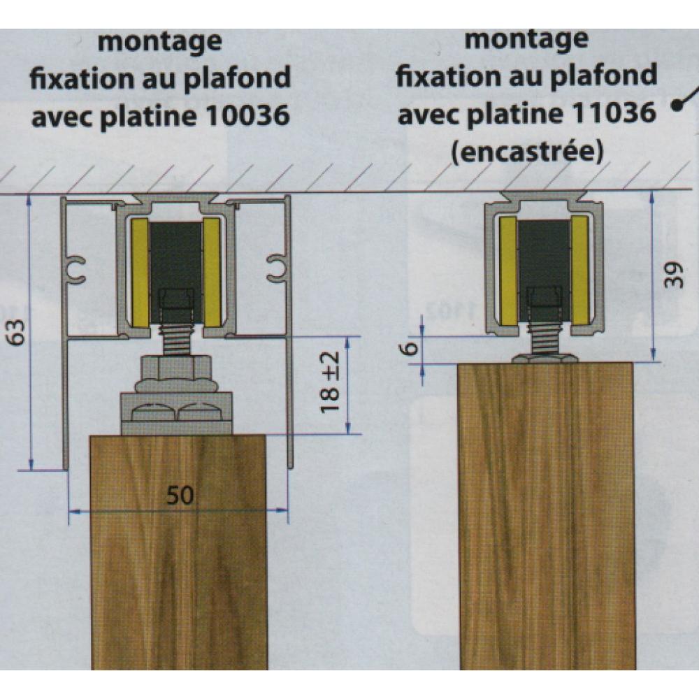 Rail haut pour porte coulissante saf 40 et saf 80 mantion - Porte coulissante entrepot du bricolage ...