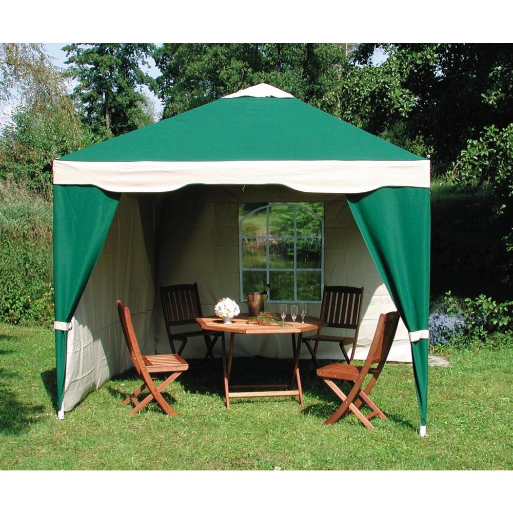 tonnelle de jardin verte en acier 4x3m avec rideaux luxury bricozor. Black Bedroom Furniture Sets. Home Design Ideas