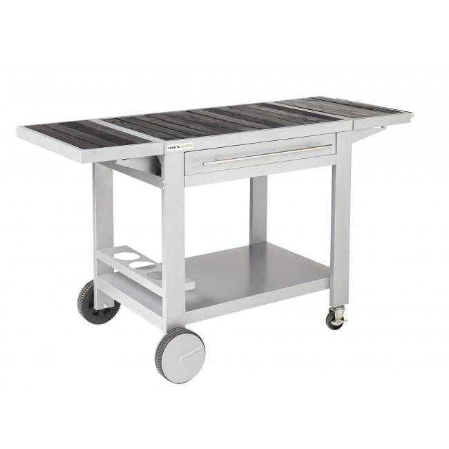 Desserte métal et bois - 2 tablettes et tiroir - Média XL COOK IN GARDEN