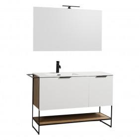 Meuble de salle de bains - et miroir - 120 cm Luna  - plan résine BATHDESIGN