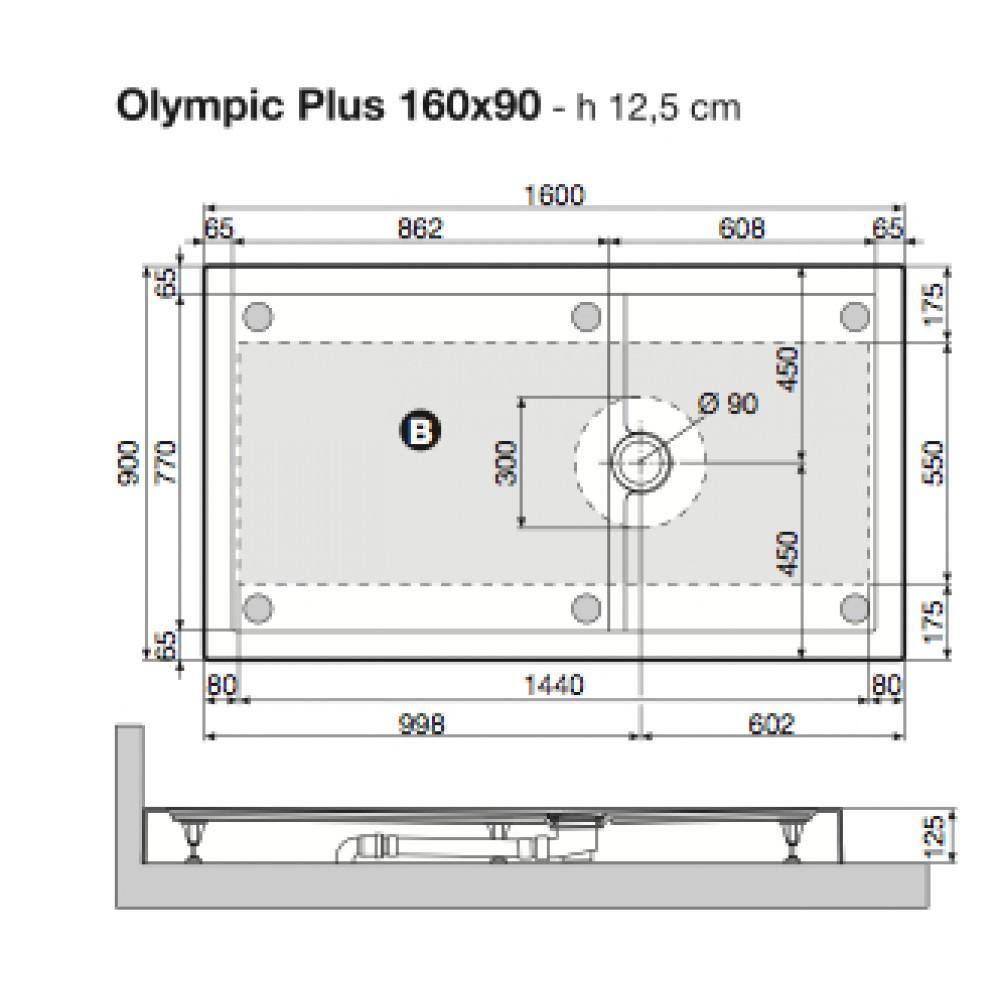 Receveur de douche poser extra plat 160x90 cm olympic plus novellini bricozor - Receveur a carreler 160x90 ...