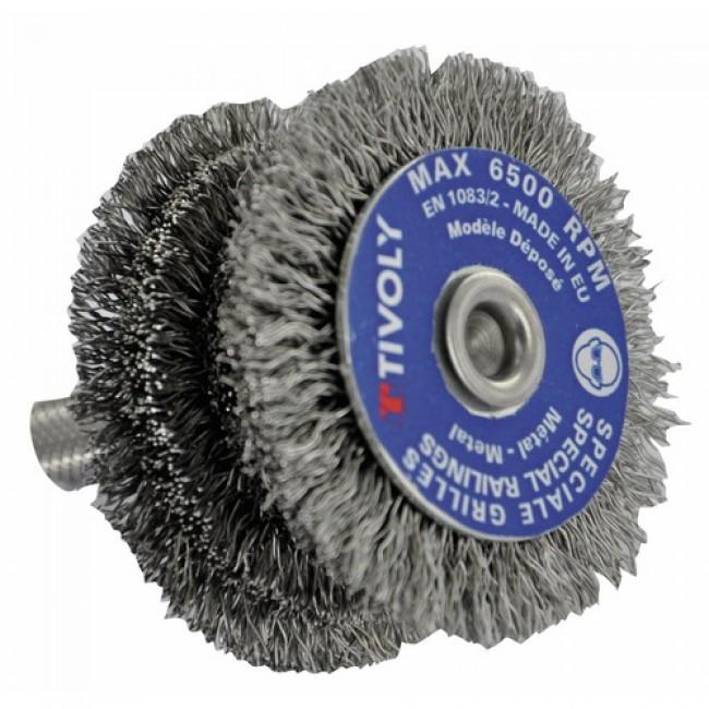 Brosse circulaire acier - spéciale barreaux - queue cylindrique TIVOLY