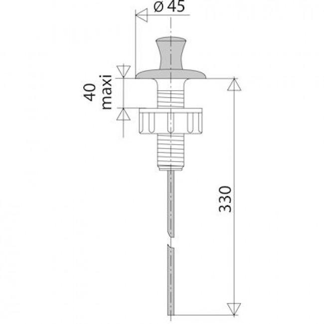 Tirette verticale inox - longueur 330mm - Sans système liaison VALENTIN