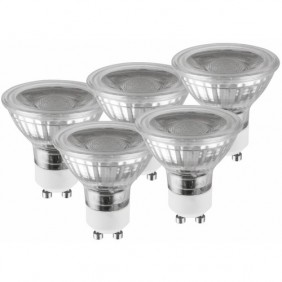 Lot de 5 spots LED - GU10 - 5 watts - Glass LUCECO