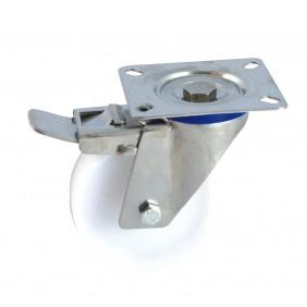 Roulette polyamide sur platine inox pivotante  à frein AVL