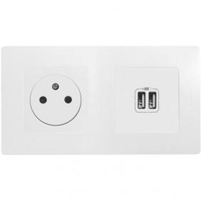 Prise de courant fort - 2P+T + chargeur double USB - Niloé LEGRAND