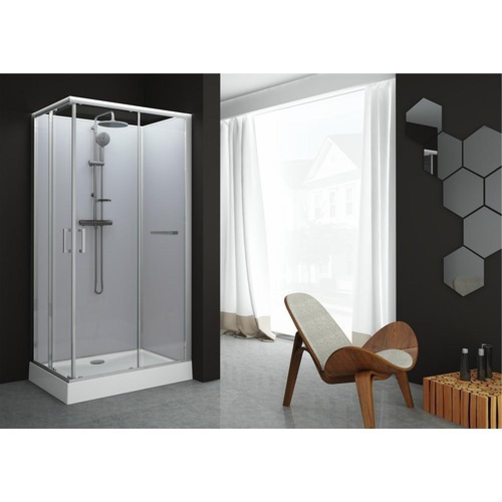 cabine de douche rectangulaire 100 x 80 portes coulissantes kara leda bricozor. Black Bedroom Furniture Sets. Home Design Ideas