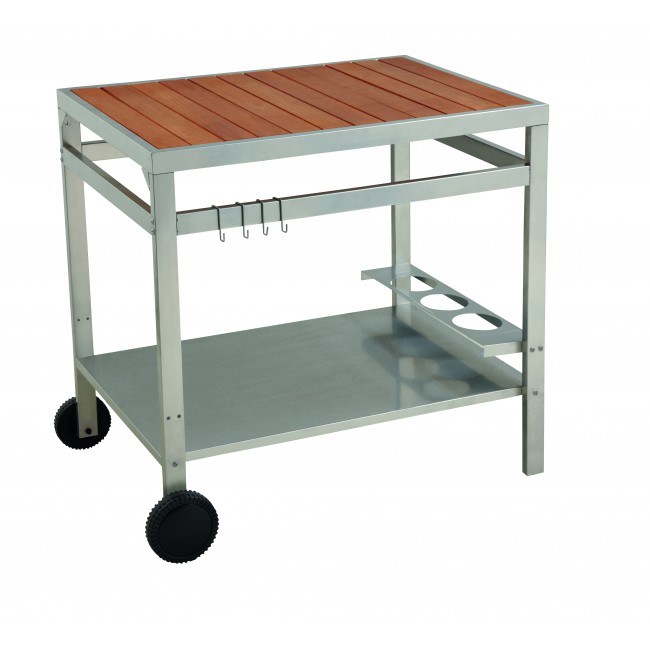 chariot pour plancha 94 x 65 cm acier et bois media wt004tw cook in garden bricozor. Black Bedroom Furniture Sets. Home Design Ideas