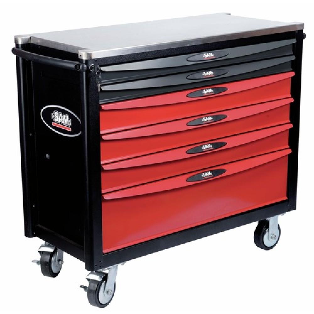 Servante d 39 atelier 6 tiroirs plateau inox servi 640 - Servante d atelier complete sam ...