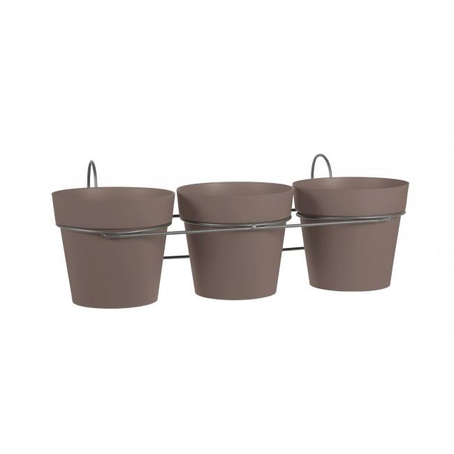 Lot 3 pots taupe + support - 1,6 litres - Toscane 11461 EDA PLASTIQUES