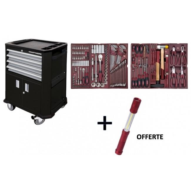 Servante d'atelier roulante + 150 outils + lampe offerte - 2906-4909 KRAFTWERK