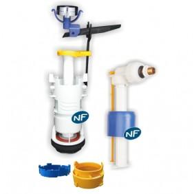 Mécanisme de chasse - universel à poussoir - simple débit - robinet flotteur REGIPLAST