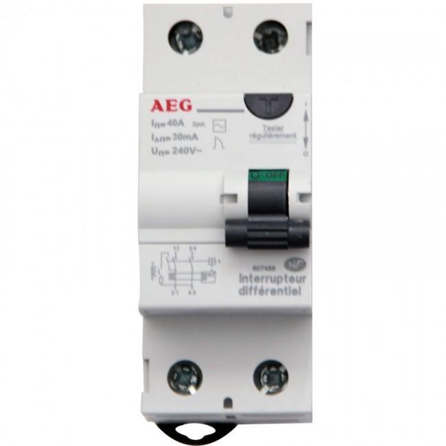 Interrupteur différentiel - 40 A - 30ma - Type AC AEG