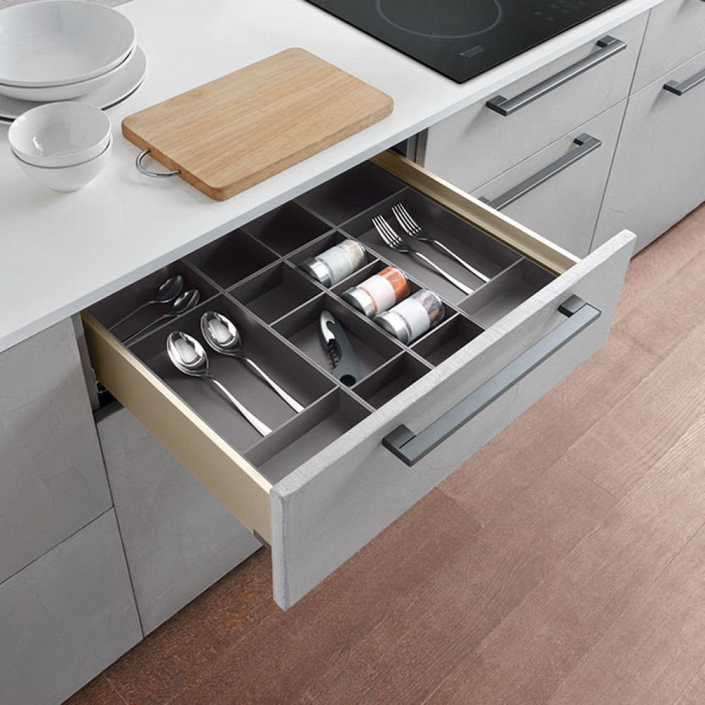 Rangement Pour Le Bois bacs de rangement pour tiroir bois - split - titane salice sur bricozor