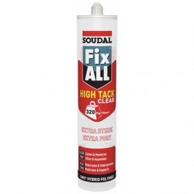 Mastic colle - polymère hybride SMX - 290 ml - Fix All High Tack Clear SOUDAL