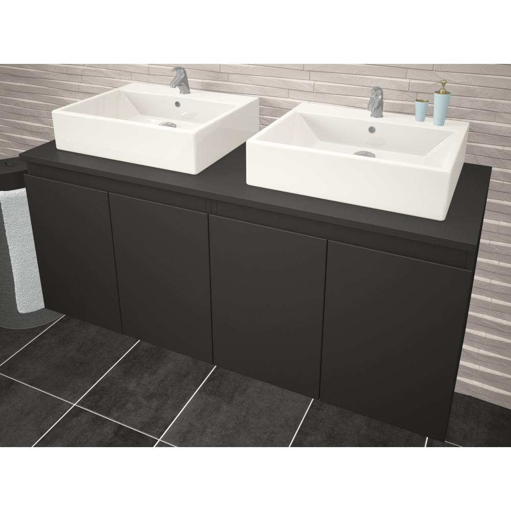 Meuble de salle de bain 120 cm cologne blanc ou gris Meuble de salle de bain 120 cm 1 vasque