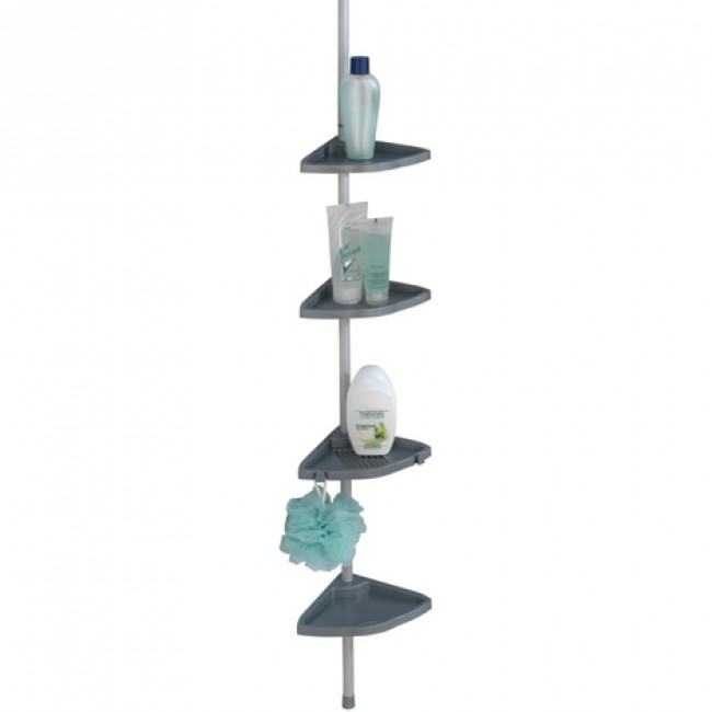 Étagère de douche télescopique d'angle - 4 tablettes plastiques WENKO