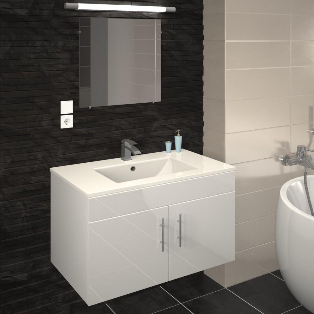 Salle De Bain Image meuble de salle de bain 80 cm - lime - blanc / gris mat ou chêne bain room  sur bricozor