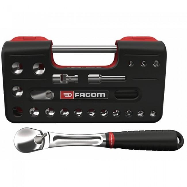 """Coffret douilles 6 pans 1/2"""" + cliquet + accessoires : 21 outils SL.DBOX1PB FACOM"""