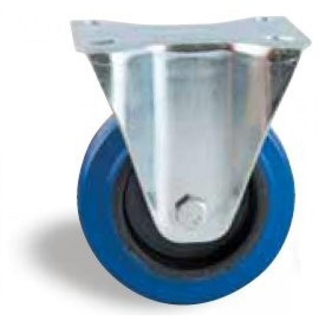 Roulette fixe sur platine - bandage caoutchouc bleu AVL