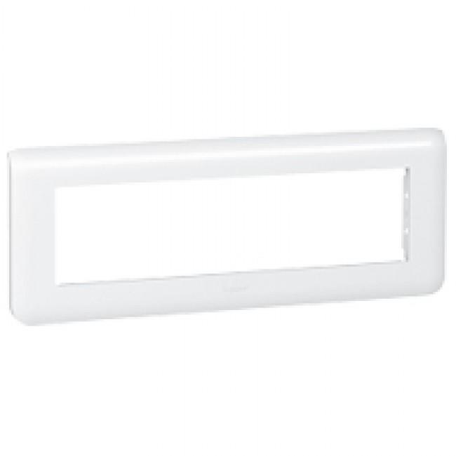 Plaque de finition horizontale Mosaic blanche - 8 modules LEGRAND