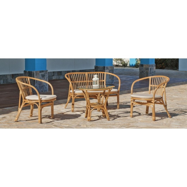 Salon de jardin en rotin naturel, 2 fauteuils et table basse - Boston INDOOR OUTDOOR