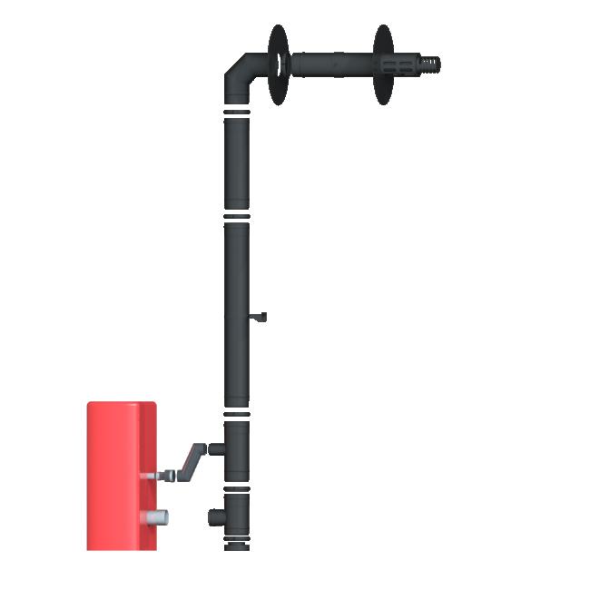 Kit conduit façades - pour poêles à granulés étanches - 80/125 - noir mat DINAK